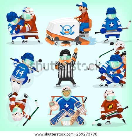 Set of hockey players in different situations. - stock vector