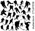 set of hockey players vector - stock vector