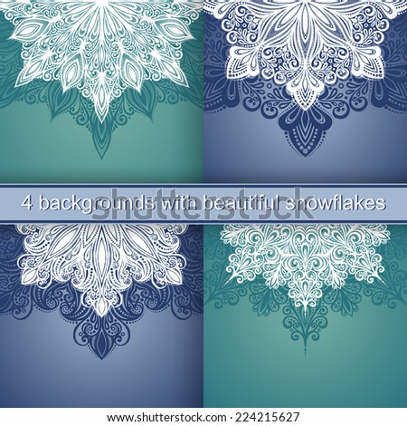 Set of 4 Holiday Backgrounds with Beautiful Decorative Snowflake (Vector)