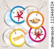Set of Holiday Badges, Labels, Tags with shells and place for text - stock vector
