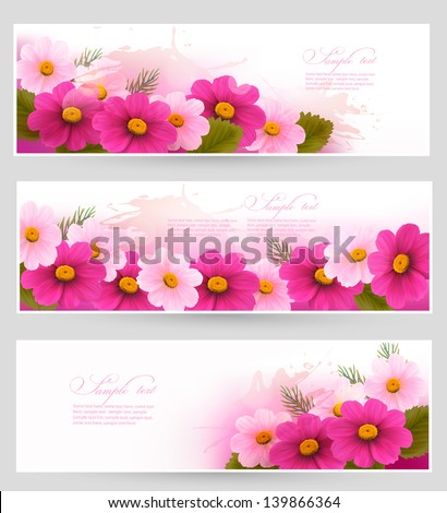 Set of holiday banners with colorful flowers. Vector - stock vector