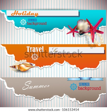 Set of Holiday banners with shells and place for text. Torn paper - stock vector