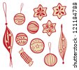 Set of holiday doodle balls and sweets for your design - stock vector