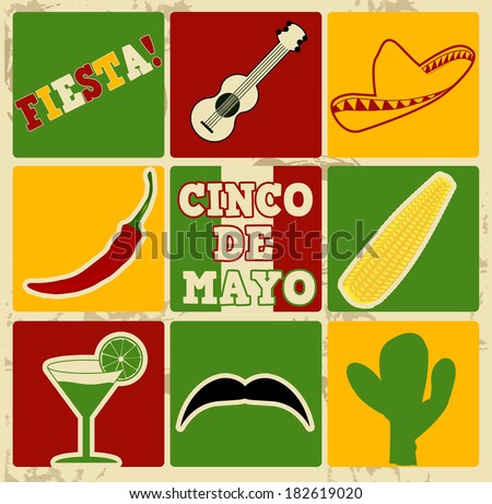 Set of holiday elements and icons on vintage poster with 5th of May  (Cinco de Mayo), vector illustration - stock vector
