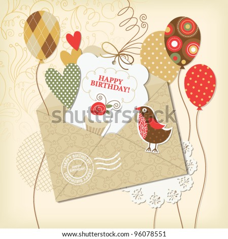 set of holiday elements, greeting birthday card - stock vector