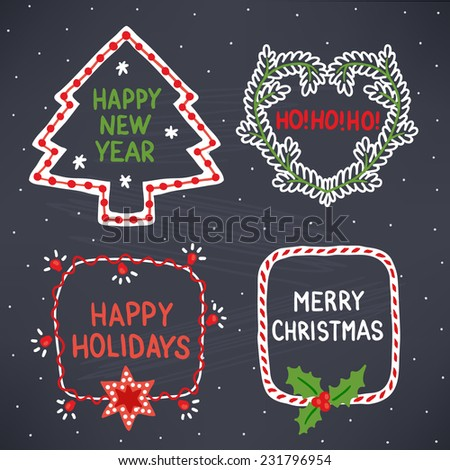 Set of holiday frames. Christmas tree, heart, candy and garland. Chalk drawn vector illustration - stock vector