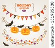 Set of holiday garlands - Halloween - stock photo