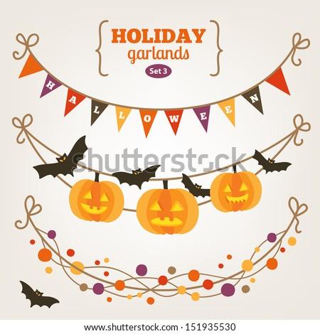 Set of holiday garlands - Halloween - stock vector