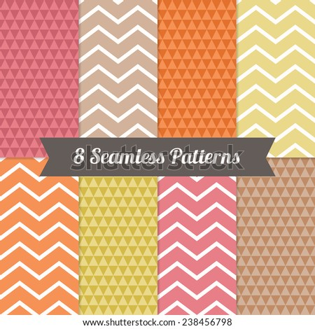 Set of Holiday Geometric Seamless Patterns with Triangles and Chevron in Yellow, Pink, Orange, Brown and White. Perfect for wallpapers, pattern fills, web page backgrounds, birthday and wedding cards  - stock vector