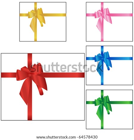 Set of Holiday, gift boxes vector isolated on white - stock vector