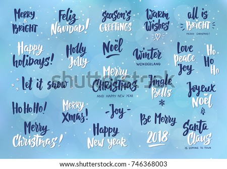 Set holiday greeting quotes wishes hand stock vector 746368003 set of holiday greeting quotes and wishes hand drawn text brush lettering merry m4hsunfo