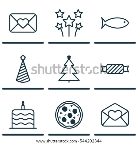 Celebration Icons Set Set 16 Celebration Stock Vector 635403917