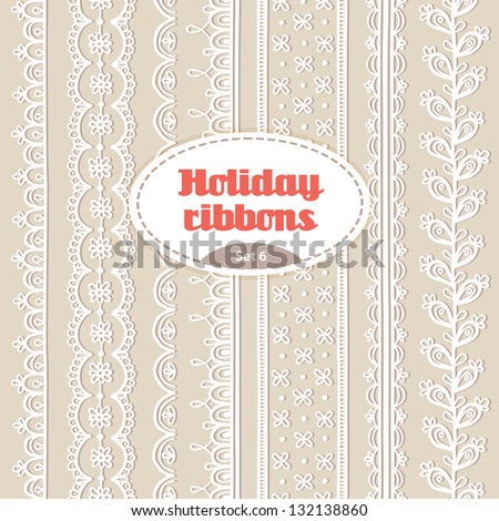 Set of holiday ribbons - stock vector