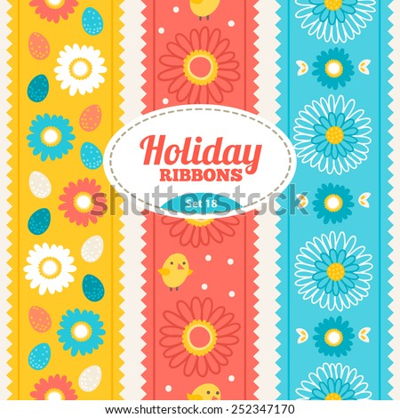 Set of holiday ribbons. Vector seamless ribbons for Easter. Perfect for creating collages, decorating wishes, albums, greeting cards, glass, candles, home accessories and more - stock vector