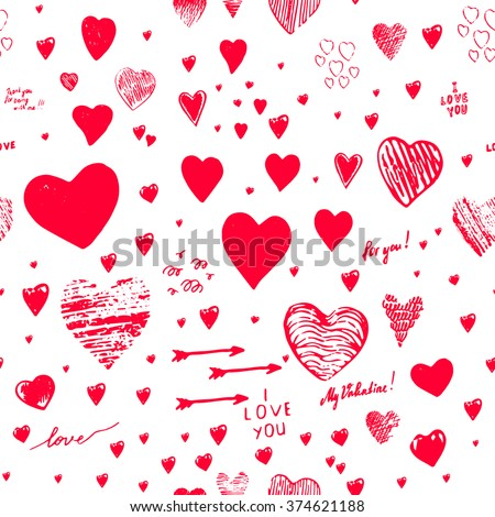 "Set of holiday seamless backgrounds with hearts, greeting card with hand-drawn hearts in Doodle style sketch art. Graffiti with hearts and inscriptions: ""happy Valentine's Day"", ""love"", ""My Valentine"" - stock vector"