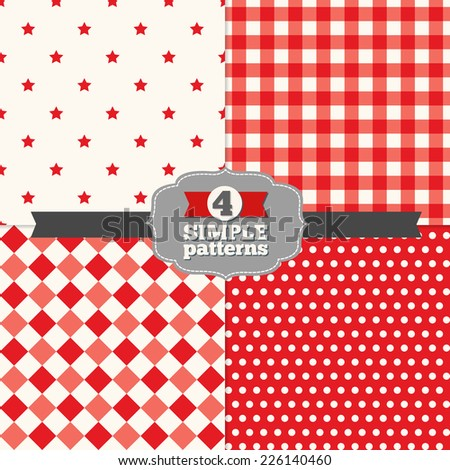 Set of Holiday Seamless Patterns (Polka Dot, Gingham, Stars and Rhombus)  in Red, Light Red and White. Perfect for wallpapers, pattern fills, web page backgrounds, surface textures, textile  - stock vector
