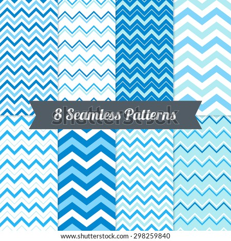 Set of Holiday Seamless Patterns with Chevron in Blue, Light Blue, Cyan and White. Perfect for wallpapers, pattern fills, background, textile, Christmas, birthday and wedding cards - stock vector