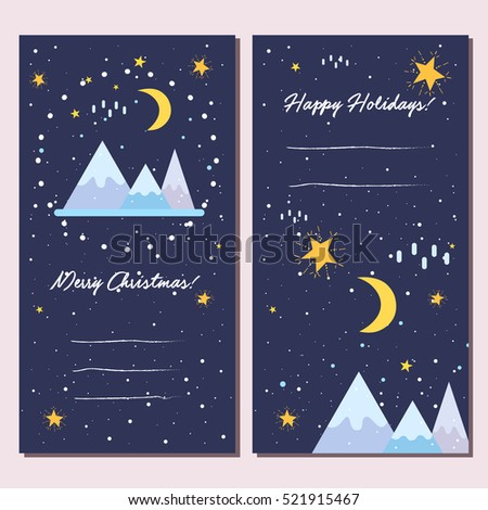 Set of 2 holiday themed banners. Christmas prints for postcards, vector illustration.