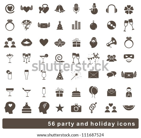 set of 56 holidays and party icons - stock vector