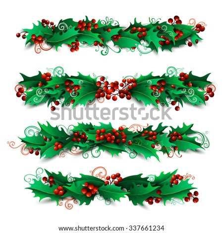 Set of holly berries page decorations and dividers. Vector Christmas design elements isolated on white background. - stock vector
