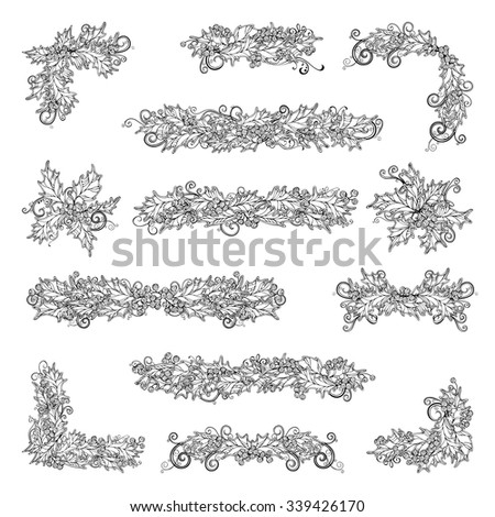 Set of holly berries page decorations and dividers. Vector outlined Christmas design elements isolated on white background. Can be used for your Christmas invitations or congratulations. - stock vector
