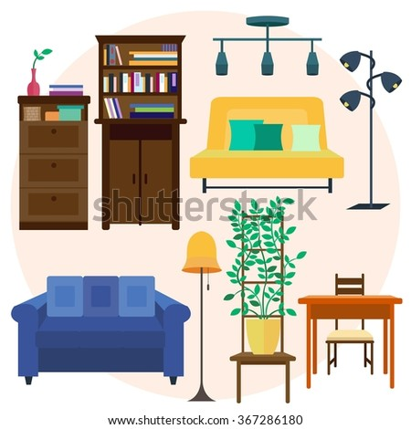 Living Room Set Of Home Furniture For Interior Vector Illustration Of Home Furniture And Stuff Sofa