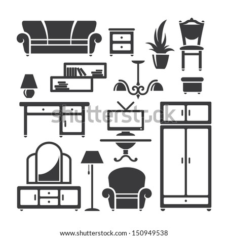 Set of home furniture symbols in vector - stock vector