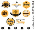 Set of honey and bee labels for honey logo products