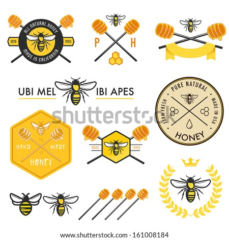Set of honey labels, badges and design elements - stock vector