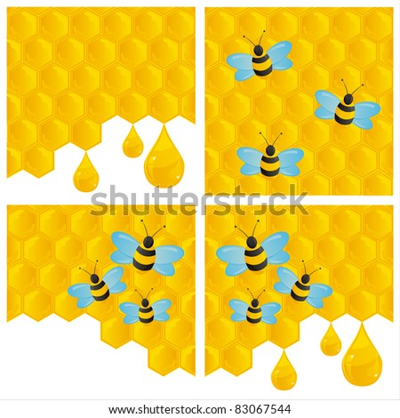 set of 4 honeycombs backgrounds with bees