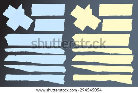 Set of horizontal and different size sticky tape,adhesive pieces on black background - stock vector