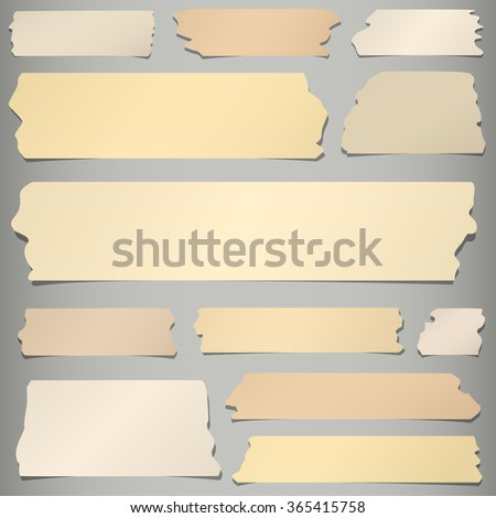 Set of horizontal and different size sticky tape, adhesive pieces on gray background - stock vector