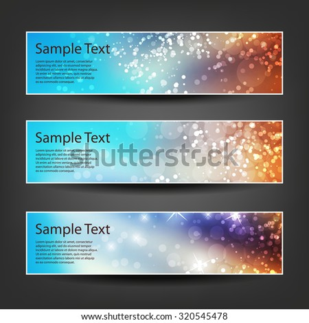 Set of Horizontal Banner / Cover Background Designs - Colors: Blue, Orange, White - Party, Christmas, New Year or Other Holiday Ad Banner Templates - stock vector