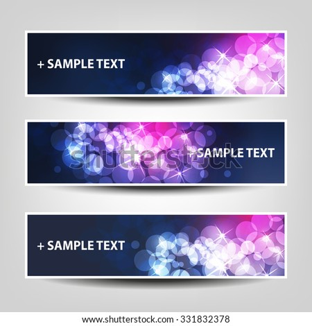 Set of Horizontal Banner / Cover Background Designs - Colors: Blue, Purple, White - Party, Christmas, New Year or Other Holiday Ad Banner Templates