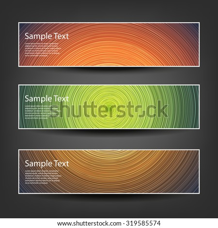 Set of Horizontal Banner / Cover Background Designs - Colors: Brown, Green, Orange - stock vector