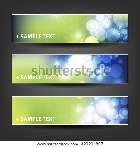 Set of Horizontal Banner / Cover Background Designs - Colors: Green, Blue, White - Christmas, New Year or Other Holiday Ad Banner Templates