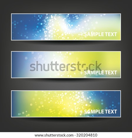 Set of Horizontal Banner / Cover Background Designs - Colors: Green, Blue, White - Christmas, New Year or Other Holiday Ad Banner Templates - stock vector