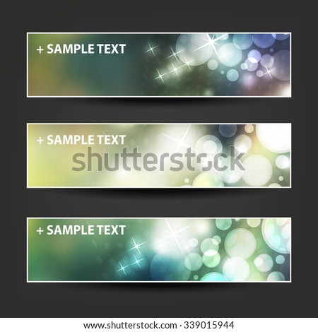Set of Horizontal Banner / Cover Background Designs - Party, Christmas, New Year or Other Holiday Ad Banner Templates