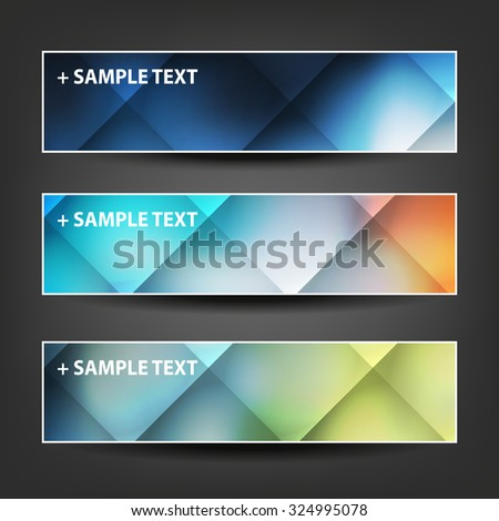 Set of Horizontal Banner or Header Designs for Christmas, New Year or Other Holidays with Colorful Checked Pattern Background - stock vector