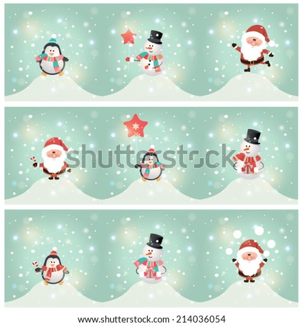 Set of 3 horizontal banner with cute Christmas character. Vector illustration - stock vector