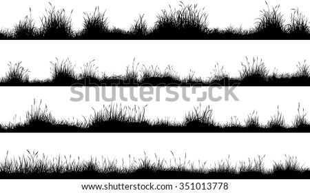 Set of horizontal banners of meadow silhouettes with grass. - stock vector