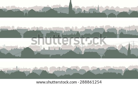 Set of horizontal banners of old historic European city in pale morning tone. - stock vector