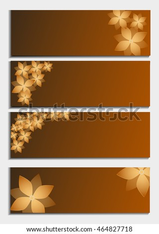 Set of horizontal banners with 3d blossoming flower isolated on background. Stylish trendy abstract wallpaper. Beautiful invitation or greeting card. Vector illustration