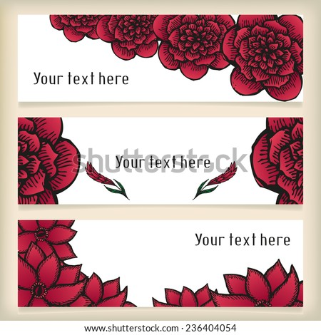 Set of horizontal banners with doodling flowers like roses in tattoo style, vector illustration