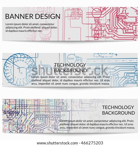 stock vector set of horizontal banners with electric circuit diagrams on electricity vector illustration 466275203 electric circuit diagram stock images, royalty free images diagram for electrical wiring at soozxer.org
