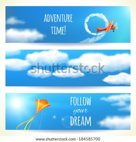 Set of Horizontal Banners with Skies. Vector illustration, eps10, editable. - stock vector
