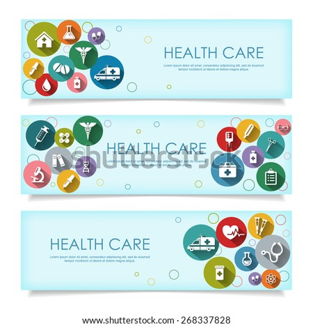 Set of horizontal  banners with vector Medical Icons in flat style with long shadows, isolated on white background. Vector illustration for your design. - stock vector