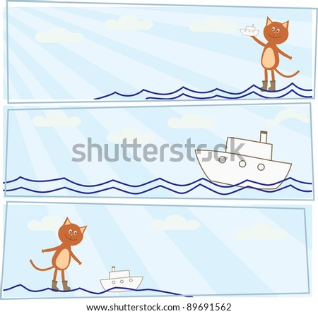set of horizontal cards with a kitten who lets boats