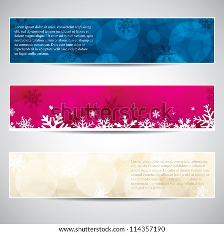 Set of horizontal Christmas banners.Vector - stock vector