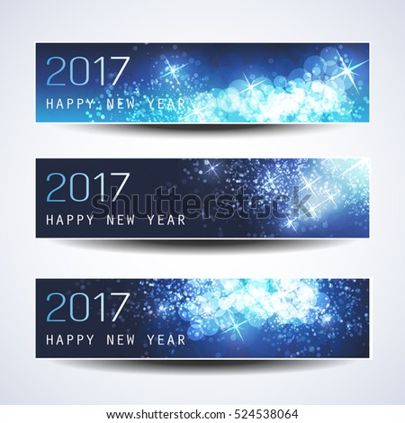 Set of Horizontal Christmas, New Year Banners - 2017